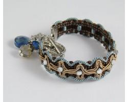 Blue Denim Brown Brocade Crystal Charm Bracelet