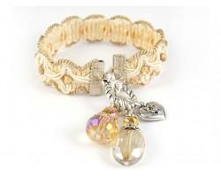 Beige Tan Brocade Cord Crystal Charm Bracelet