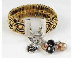 Gold Black Swirl Brocade Crystal Charm Bracelet