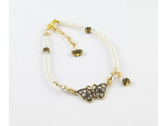 Pearl & AB Crystal Gold Plate Butterfly Flower Anklet Bracelet