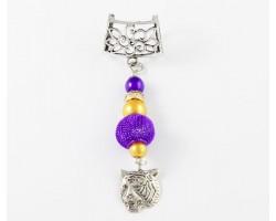 LSU Purple Mesh Bead Gold Purple Tiger Head Scarf Slide
