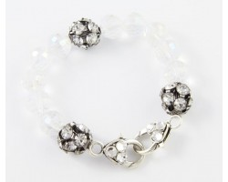 Clear AB Large Faceted & Clear Crystal Beads Stretch Bracelet