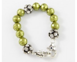 Green Pearl Large Faceted & Clear Crystal Beads Stretch Bracelet
