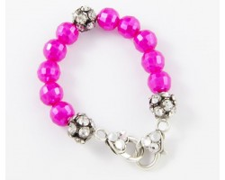 Hot Pink Large Faceted & Clear Crystal Beads Stretch Bracelet