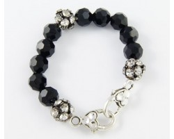 Jet Large Faceted & Clear Crystal Beads Stretch Bracelet