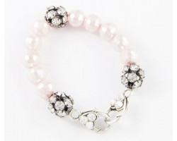Light Pink Large Faceted & Clear Crystal Beads Stretch Bracelet