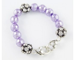 Light Purple Large Faceted & Clear Crystal Beads Stretch Bracelet