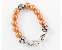 Orange Large & Clear Crystal Beads Stretch Bracelet