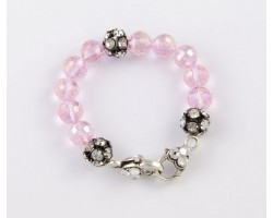 Pink AB Large Faceted & Clear Crystal Beads Stretch Bracelet
