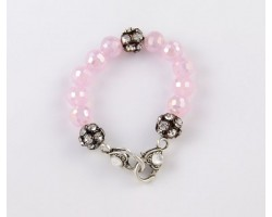 Opeque Pink AB Large Faceted & Clear Crystal Beads Stretch Bracelet