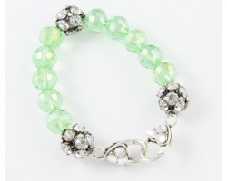 Peridot Large Faceted & Clear Crystal Beads Stretch Bracelet