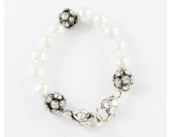 White Pearl Large Faceted & Clear Crystal Beads Stretch Bracelet