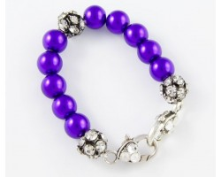 Purple Large & Clear Crystal Beads Stretch Bracelet