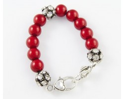 Red Large & Clear Crystal Beads Stretch Bracelet