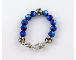 Sapphire AB Large Faceted & Clear Crystal Beads Stretch Bracelet