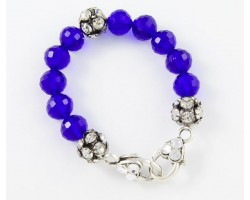 Sapphire Large Faceted & Clear Crystal Beads Stretch Bracelet