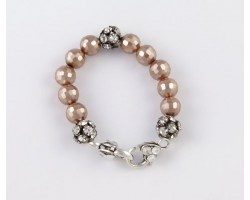 Taupe Large Faceted & Clear Crystal Beads Stretch Bracelet