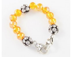 Topaz Large Faceted & Clear Crystal Beads Stretch Bracelet