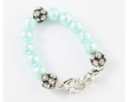 Turquoise Large Faceted & Clear Crystal Beads Stretch Bracelet