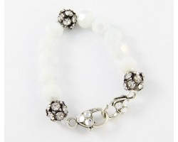 White AB Large Faceted & Clear Crystal Beads Stretch Bracelet