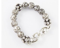 White Leopard Large Faceted & Clear Crystal Beads Stretch Bracelet