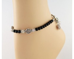 Black Bead AB Crystal Rose Toggle Charm Anklet