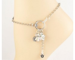 Clear AB Crystal Rose Ring Charm Anklet
