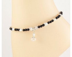 Silver Hearts Black Beads Crystal Charm Anklet