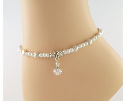 Silver Hearts Pearl AB Crystal Charms Anklet
