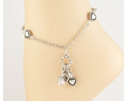 Silver Plate Heart Beads AB Crystal Charms Anklet