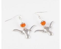Texas Longhorn Orange Crystal Silver Plate Longhorn Hook Earrings