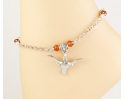 Texas Longhorn Orange Crystal Chain Anklet