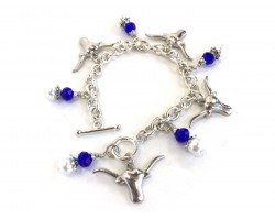 Blue Longhorn Pearl Charm Bracelet