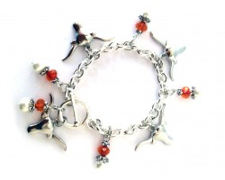 Texas Longhorn Orange Pearl T-Bar Charm Bracelet