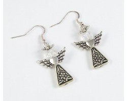 Antique Silver Plate Triangle Daisy Angel with Halo Hook Earrings