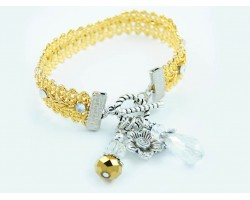 Gold Brocade Cord Clear Crystal Toggle Charm Bracelet