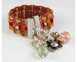 Brick Velvet Square Brocade Cord Crystal Bracelet