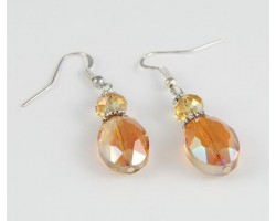 Smoked Topaz AB Oval Crystal Silver Plate Filigree Bead Cap Hook Earrings