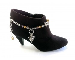Brown Crystal Flower Boot Jewelry