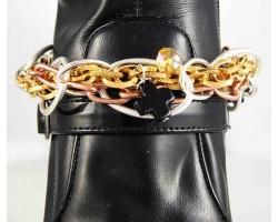 Tri Color Copper Slv Plate Gold Plate Chain Cross Shoe Boot Jewelry