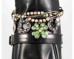 Tri Color Multi Chain Clover Horseshoe Shoe Boot Jewelry