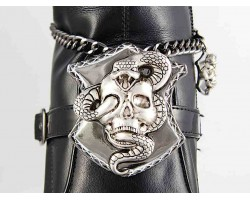 Gun Metal Skull Snake Shield Chain Shoe Boot Jewelry