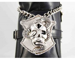 Slv Skull Snake Shield Heavy Chain Shoe Boot Jewelry