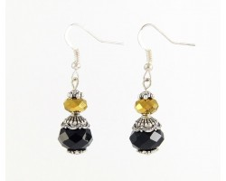 Black/Gold Saints Colors Crystal Round French Hook Earrings
