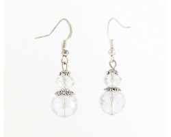 Crystal AB Round Crystal French Hook Earrings