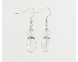AB Crystal Oval Flat Beaded on French Hook Earrings