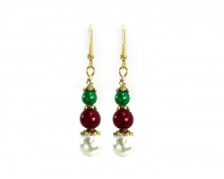 Red Green White Pearl Gold Hook Earrings