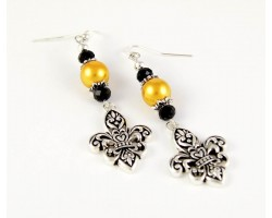 Black & Gold Cut Out Fleur De Lis Hook Earrings