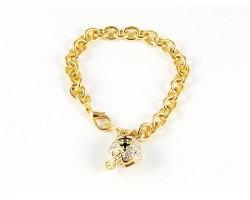 Fleur De Lis Crystal Football Helmet Gold Oval Link Bracelet