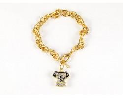 Fleur De Lis Crystal Football Jersey Gold Oval Link Bracelet